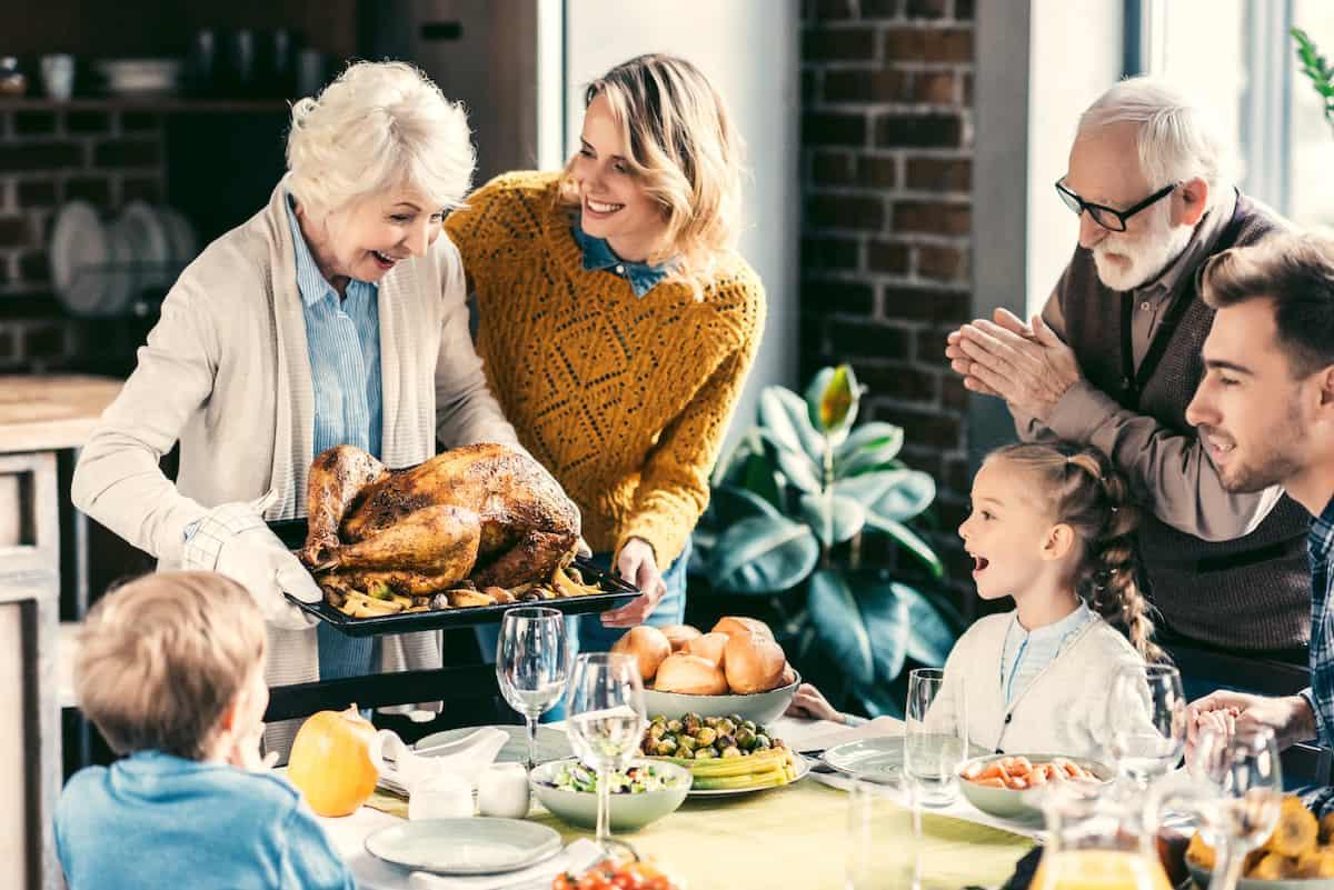 turkey being served on thanksgiving